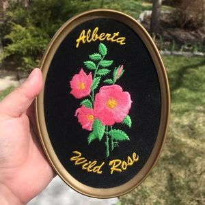 Vintage needle point embroidered wall art floral